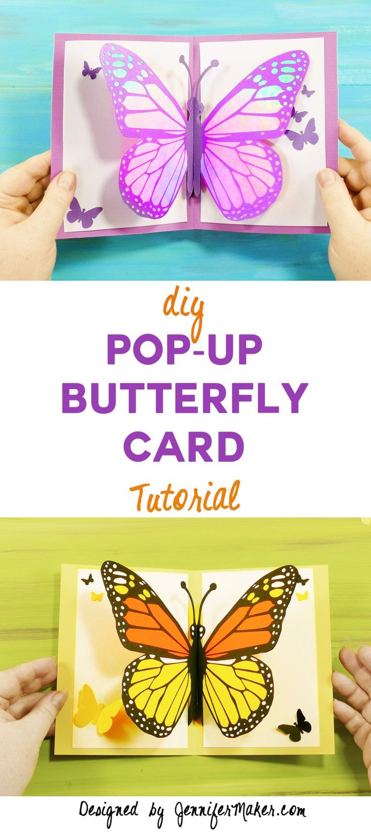 Free tutorial, files, and pattern to make a pop-up butterfly card!