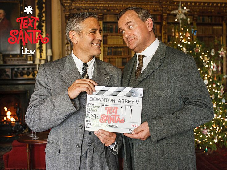 See George Clooney on the set of Downton Abbey alongside Hugh Bonneville's Robert Crawley in a one-off sketch in support of the British charity Text Santa – an annual fundraiser that raises money for U.K. charities during the festive season.