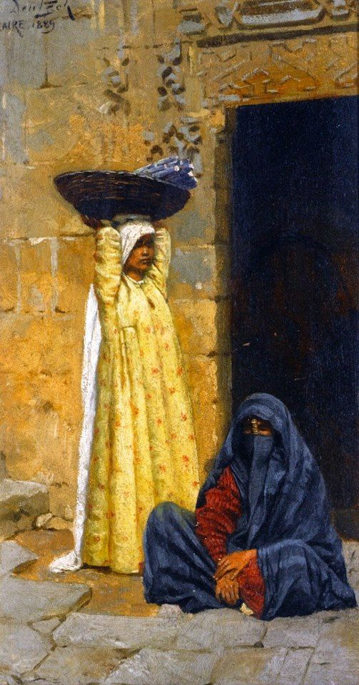 Egyptian Figures 1889 By Ludwig Deutsch (Austrian ,1855 - 1935) Oil on panel , 23 X 12,5 cm