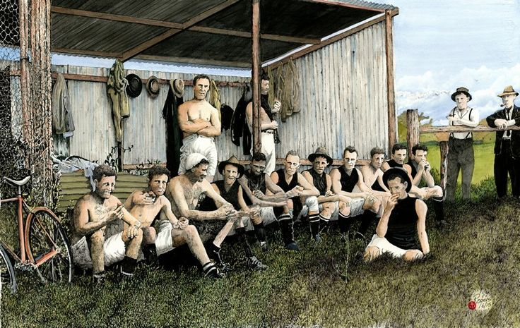 """""""Half Time - Army in Darwin WW1"""" - In this work I have tried to capture with old faded colours of the era depicting an Army Australian Rules team having oranges at half time in Darwin during World War 1. These 'down times' were crucial in maintaining the esprit de corps of the troops during the war. Morale had to be kept at a high to maintain a kind of pseudo-discipline of Australia's young soldiers and conducting sporting events at every opportunity had a twofold effect of creating…"""
