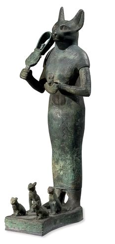Bronze figure of the cat-headed goddess Bastet, Late Period or Ptolemaic Period, c. 664-30 BC.