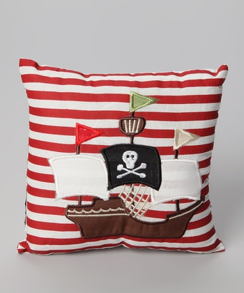 pirate boat for boy's room. Sewing the boat on a striped red pillow. :-)