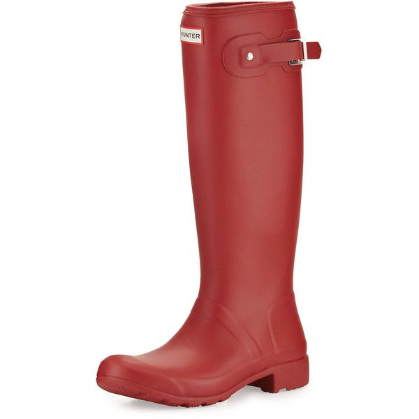 Hunter Boot Original Tour Packable Rain Boot ($150) ❤ liked on Polyvore featuring shoes, boots, military red, red boots, waterproof wellington boots, red flats, red rain boots and waterproof military boots