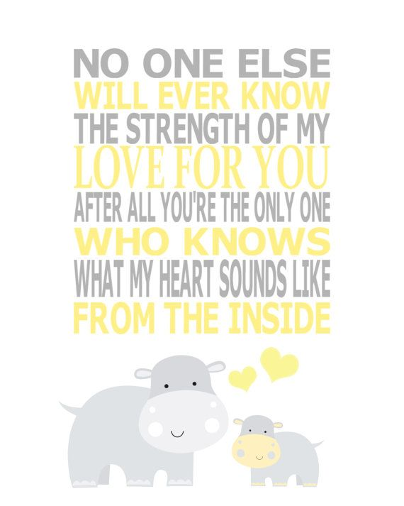 The Strength of My Love - Gray and Yellow Hippos - Gray and Yellow Nursery Kids Wall Art Nursery Art by vtdesigns, $14.00