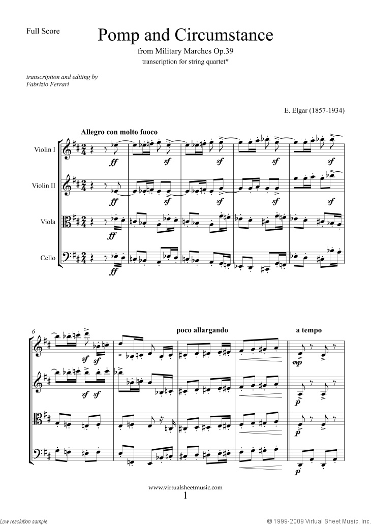 Pomp And Circumstance Op39 Fscore Sheet Music For String Quartet