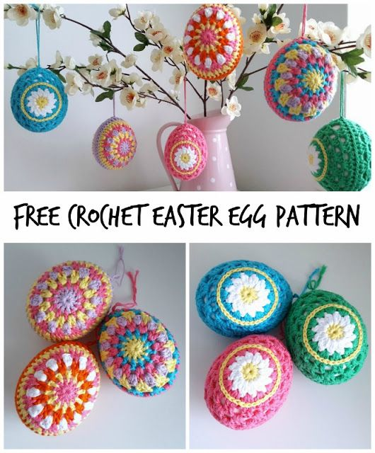 Use this free pattern to create cute and colourful crochet easter eggs. Multi-coloured or daisy patterned, these will look great as part of your easter decorations!