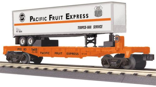 MTH-Railking-O-Gauge-PFE-Pacific-Fruit-Express-Flat-Car-w-039-Trailer-30-76548