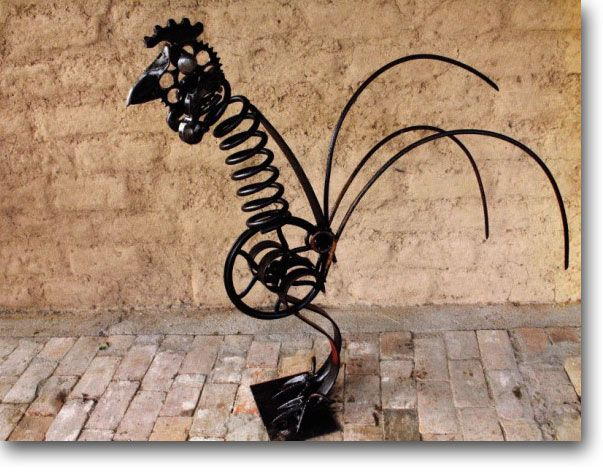 Metal Rooster made from springs, wheels, rods and coils - perfect for garden sculpture -  - made by Maurie Berry, Mudgee, Australia