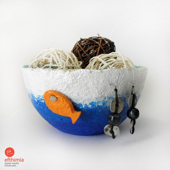 Papier mache fish bowls. Τwo small orange fish swimming in sea waves! It is sculpted by hand. Handmade and one of a kind papier mache bowl. Blue is the sea, white is the sky. I love this bowl! Cute and adorable gives the feeling and joy of summer and makes it the perfect gif for