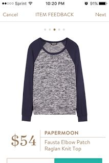 How to Get Your Best Fix, Tips & Tricks. Can't wait to try on this Papermoon Fausta Elbow Patch Raglan Knit Top coming in my 15th box from Stitch Fix