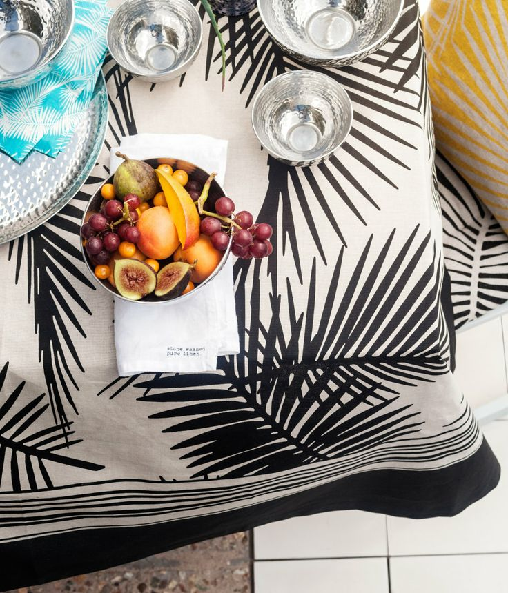 Black And Creme Palm Tree Tablecloth
