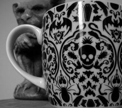 Black and white skelegant mug with Gothic skull damask from Barnes and Noble.