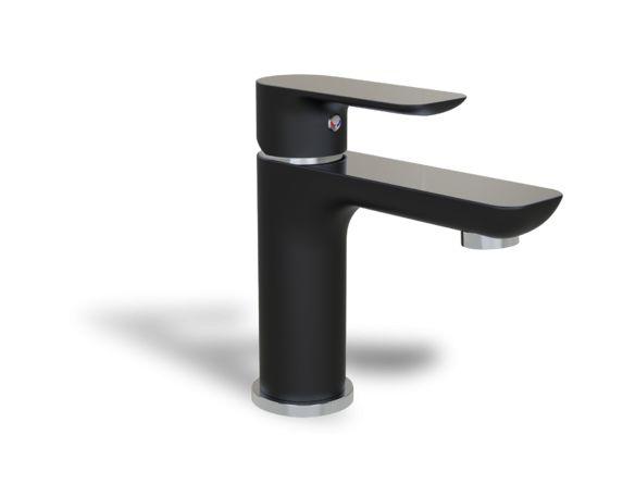 Vous aimez le noir dans une salle de bain, nous oui! Superbe robinet de lavabo monotrou de couleur noir aux accents chromes, parfait pour une salle de bain contemporaine.