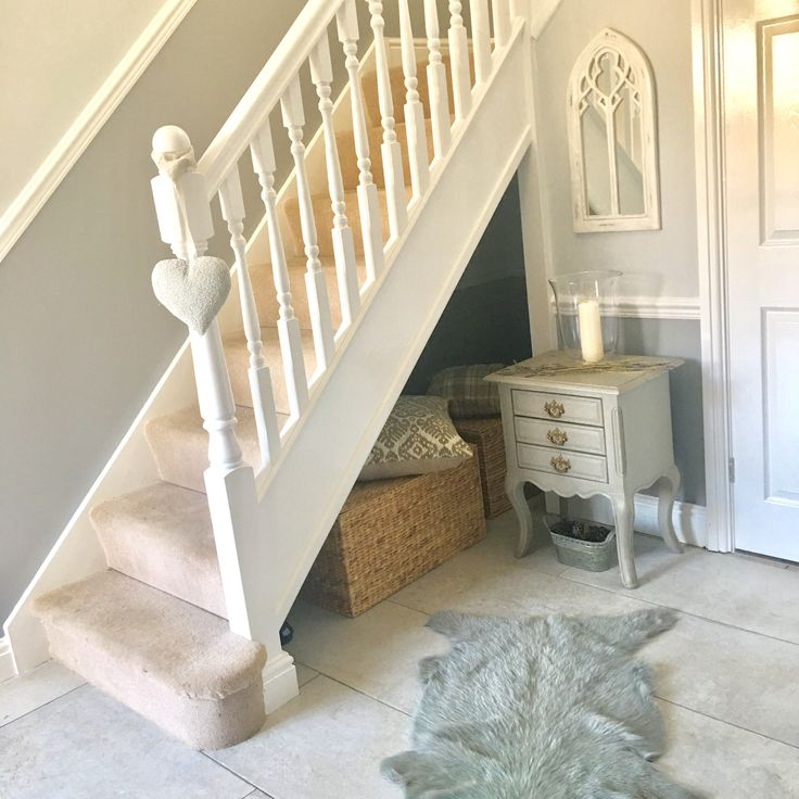 Grey hallway entrance hall with dado rail two-tone gray shabby chic accessories - Dulux Polished Pebble & Crown Pencil Point below