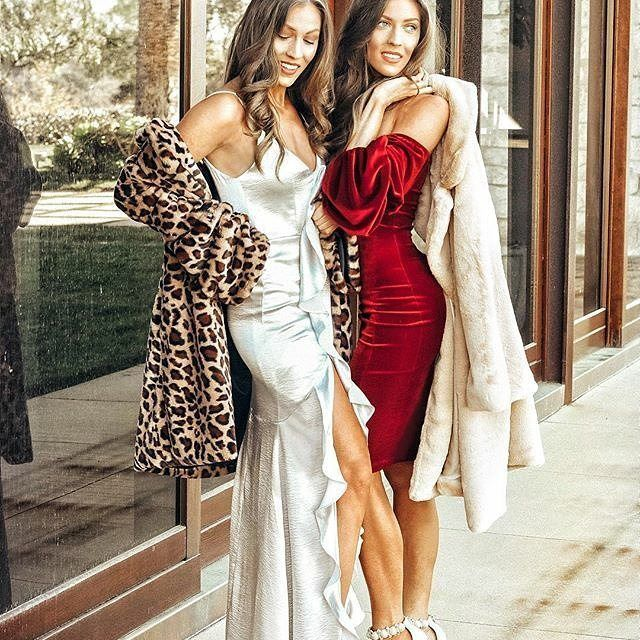 Marissa and Meredith are NYE ready!  @your_daly_dose_ is slaying the silver maxi dress, red velvet sweetheart dress and coats by @prettymissyinc. What are you wearing tonight?