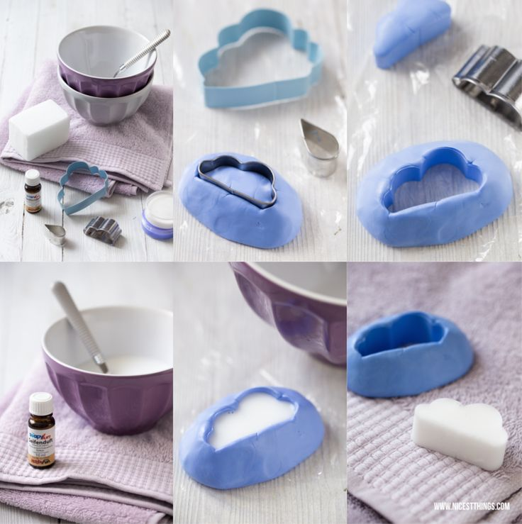 Muttertags-DIY: Seife in Wolkenform selber machen (in German, but cool molding making method for soap)