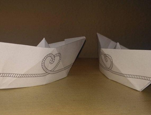 Printed Origami boat wedding boat paper boat boat decor