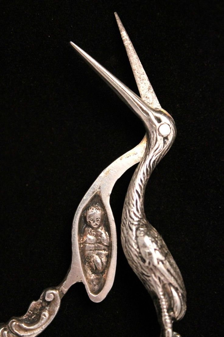 Here for your consideration are a pair of antique midwife stork themed sterling silver scissors. One of the nicest collector scissors we have ever seen. Very ornate handles and detailed work throughout. | eBay!