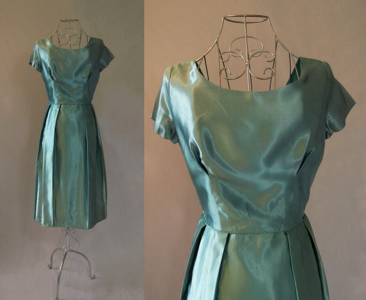 Blue Green Satin Dress by LouisaAmeliaJane on Etsy