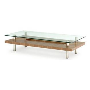 BDI - BDI Hokkaido Large Coffee Table - Elegant and sculptural, the eye-catching Hokkaido Large Coffee Table by BDI combines metal, wood grain, and glass. The glass top looks as though it is floating above the geometric cut-out middle shelf. The chrome legs finish off the coffee table, which would be striking in a modern home or office. Choose between 3 color wood finishes.