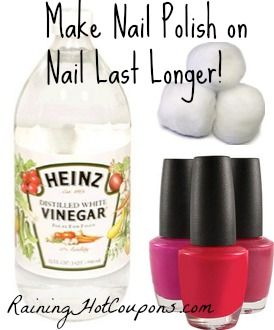 Did you know….  You can make nail polish last longer on your nails with vinegar?! Just take a cotton ball and dip it in vinegar then swipe it over your un-polished nail. After it's dry, polish your nail! That's it, your nail polish will last longer. Hmm...
