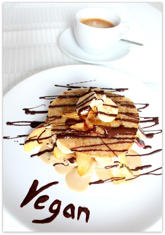 veganbreakfast with whole wheat pancakes, caramelized fruits, # ...