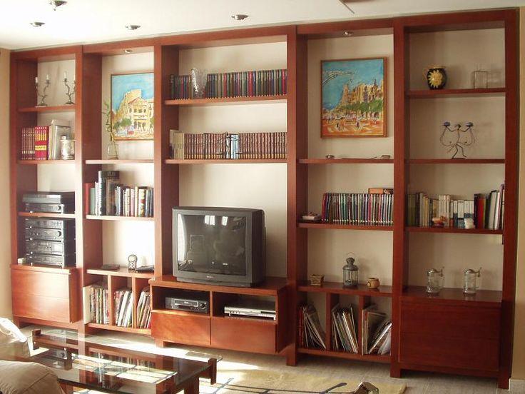 librera para saln con estantera en madera y fondo en melamina blanca salones pinterest
