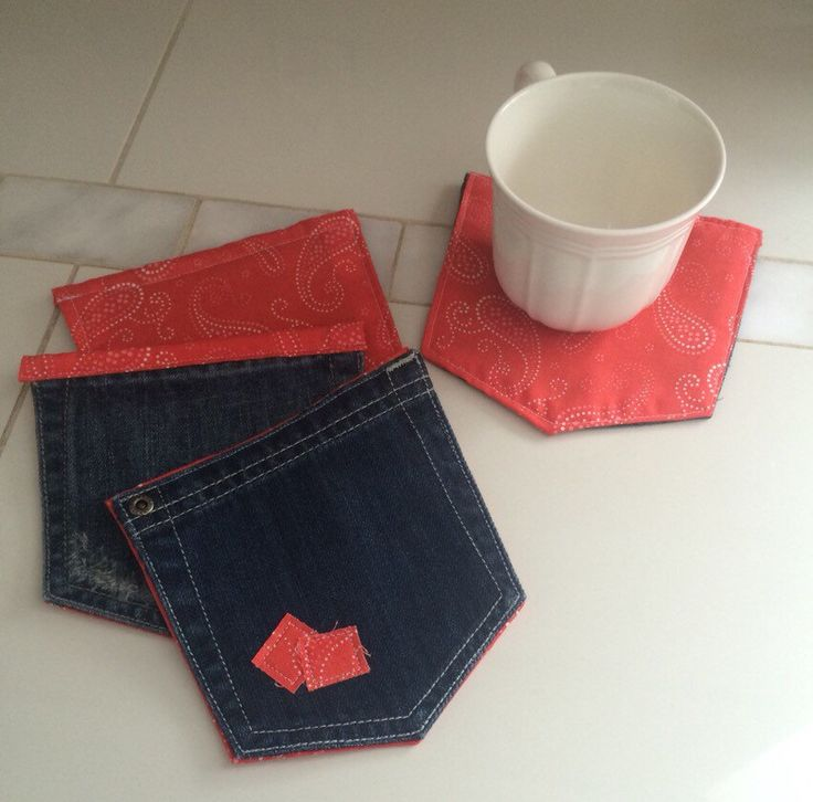 Coasters set of 4 blue jean pocket mug rugs red paisley accents upcycled & unique country rustic cowboy decor READY TO SHIP by TheStitchingHorse on Etsy https://www.etsy.com/listing/270473331/coasters-set-of-4-blue-jean-pocket-mug
