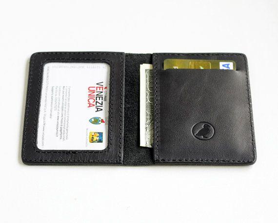 Slim Wallet Leather Thin Wallet Minimalistic Leather Id Wallet Black Card Holder Men's Wallets Front Pocket Wallet