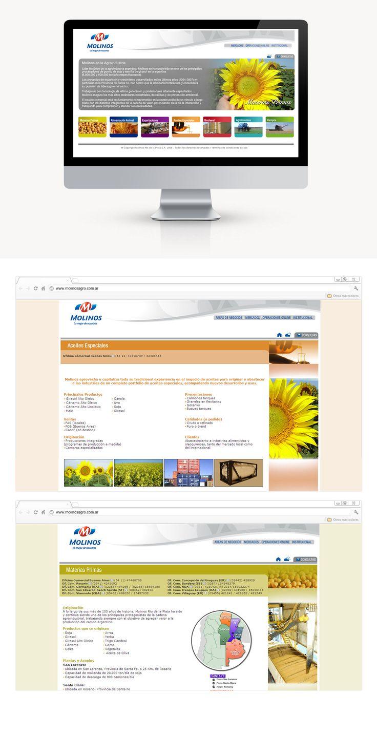 En DOMO desarrollamos una extranet para Molinos que brinda información comercial a sus clientes y corredores. Accediendo a la misma, los clientes pueden ver su información comercial y administrativa en tiempo real obtenida del sistema SAP de Molinos. También le diseñamos el sitio web, con el requisito fundamental de parte del cliente en dividir por colores definidos, los sectores.