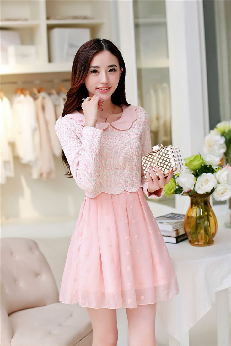 Sheng Zhuojia new autumn and winter 2014 women doll collar Polka Dot hedging sweet princess skirt was thin woolen dress - SGshop