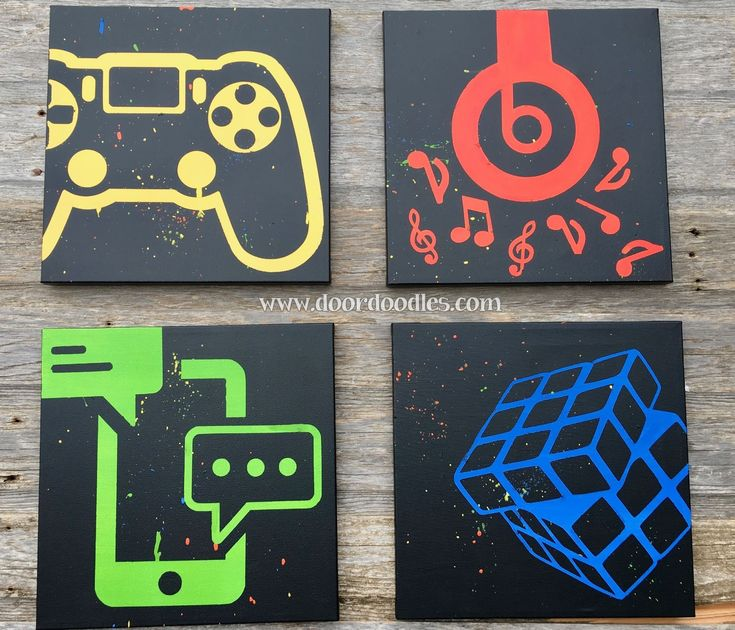 Social media canvas art, teen bedroom wall, teenager, preteen, Twitter, Gamer, PS4, Nintendo, Play Station, Wii, Beats headphones, music, Apple, cell phone, text, texting, Rubiks cube, icon, symbol www.doordoodles.c...