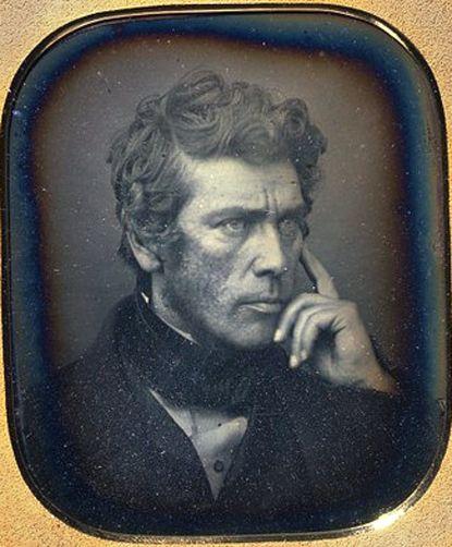 Great hair! Andrewe Pritchard, inventor, lense maker by Antoine-François-Jean Claudet, born 1797 - died 1867