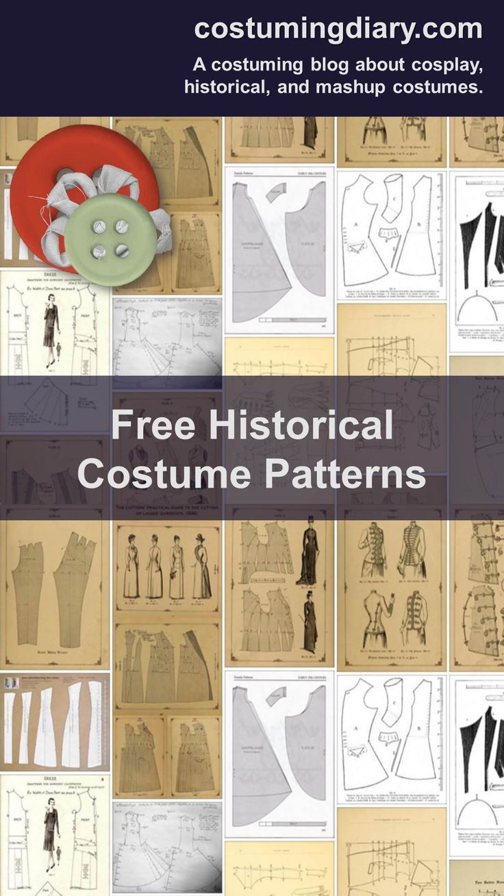 A list of free historical costume patterns including medieval, Elizabethan and Victorian patterns.