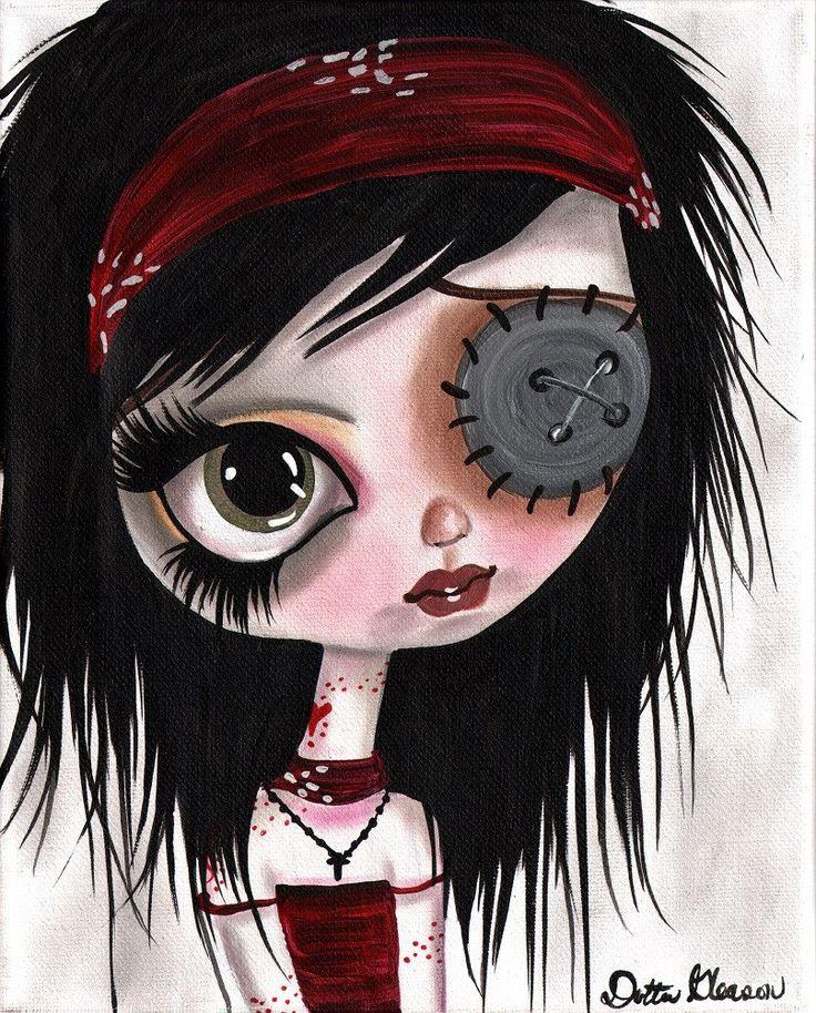 Rock Girls No. 3 by Dottie Gleason Button-eyed Girl Canvas Art Print – moodswingsonthenet