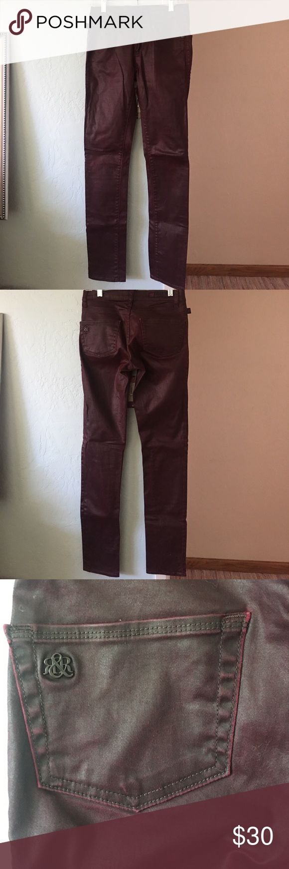 Oxblood Rock & Republic jeans size 2 Worn 3 or 4 times, excellent condition, oxblood red, waxy finish size 2 Rock & Republic jeans Rock & Republic Jeans Skinny