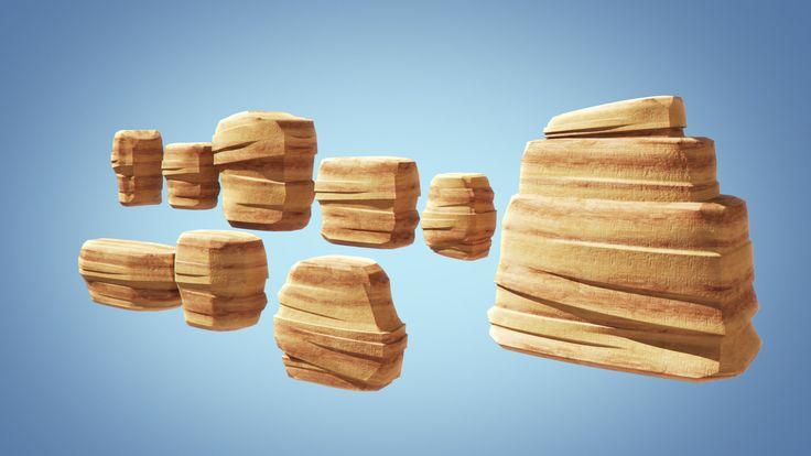 3d stylized cliff rock model
