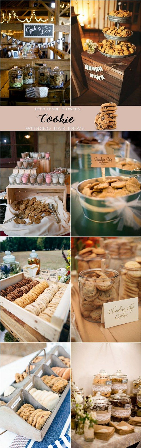 Rustic cookie wedding dessert food bar ideas for wedding reception / http://www.deerpearlflowers.com/wedding-catering-trends-dessert-bar-ideas/2/