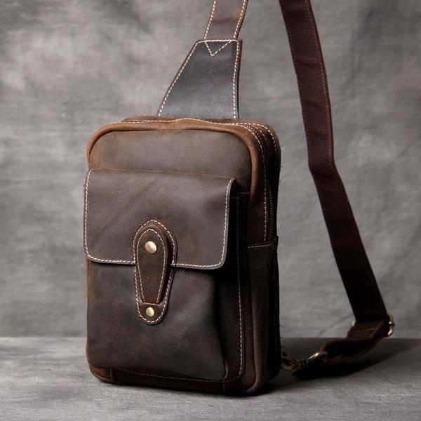 New Leather Chest Crossbody Bag,Brown Leather Bag,Men's Shoulder Bag,Leather Chest Bag,Gifts For Mens,Men's Bag OAK-053 Features: Design:Genuine LeatherChest