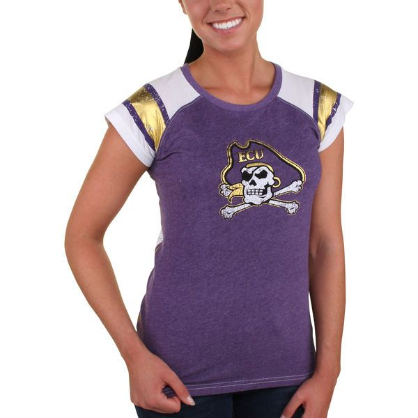 East Carolina Pirates Pressbox Women's Metallic Trace 2Hit T-Shirt - Purple - $35.99