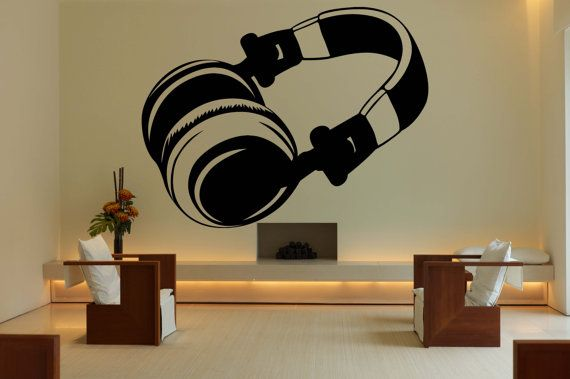 Removable Vinyl Sticker Mural Decal Wall Decor Poster Showcase Electronic Dance Music EDM Trance DJ Cool Headphones Love Sound Stereo F1960
