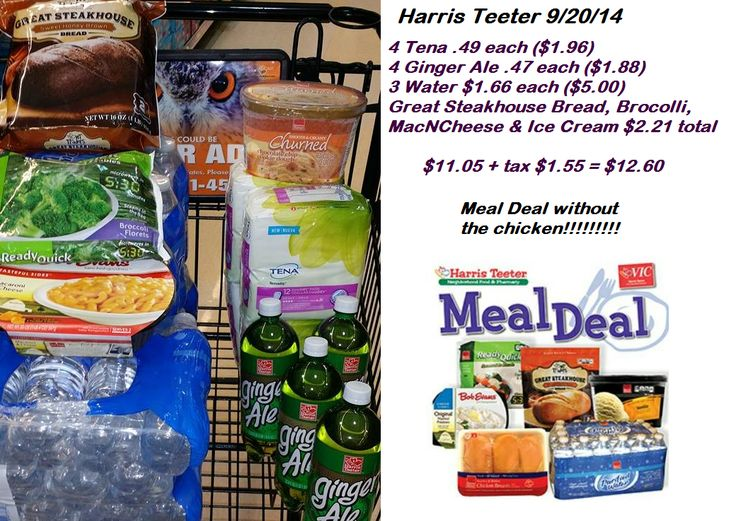 Harris Teeter got my Evic Specials...Tena...and the Meal Deal minus the Chicken on Sunday for $12.60 including 3 cases of water, 4 Ginger Ale, 3 Tena Pads and all the added fixin's for a meal #cantpayfullprice #lovemycoupons
