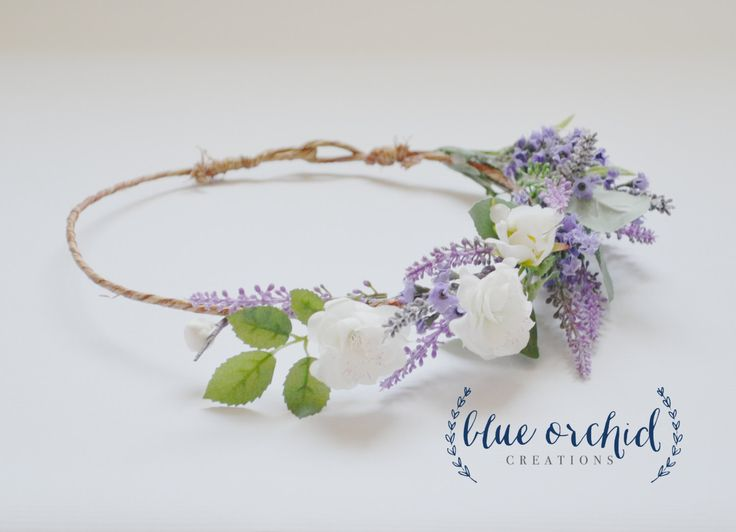 Silk Flower Crown - Lilac, Lavender, and Cream Cherry Blossoms, Flower Crown, Floral, Head Piece by blueorchidcreations on Etsy