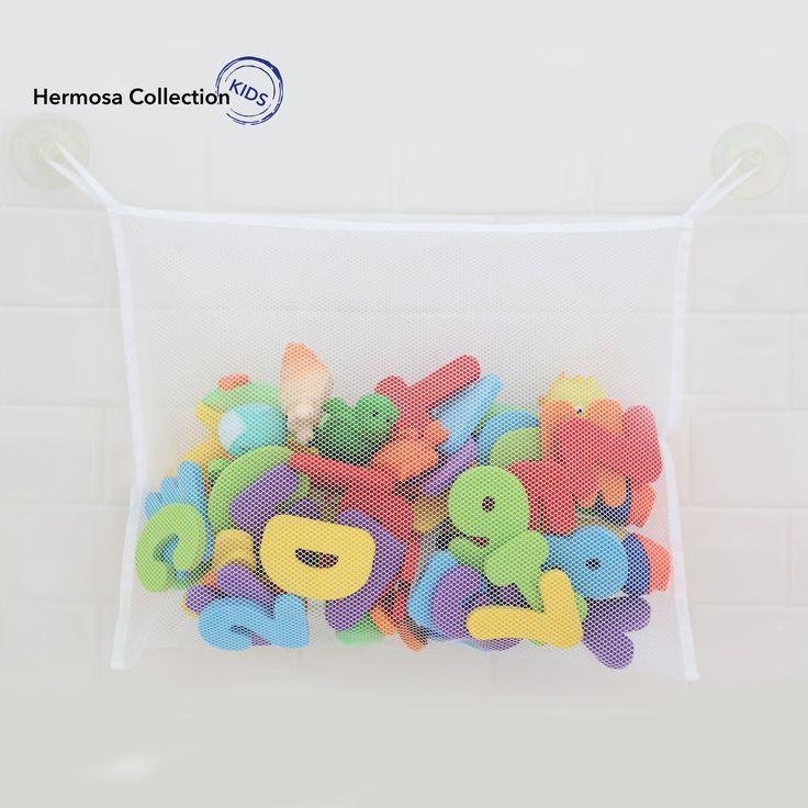 #1 Rated Bath Toy Organizer - Washable Mold Resistant Large Storage Bag for Bathtub & Shower Toys + 2 FREE Additional Heavy Duty Suction Hooks