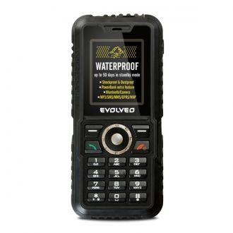 EVOLVEO StrongPhone Accu to wodoszczelny telefon komórkowy o wyjątkowej wytrzymałości.  Bateria o dużej pojemności 3600 mAh zapewni długi czas działania urządzenia - aż do 50 dni na jednym ładowaniu! Telefon jest wodoszczelny - spełnia wymagania normy IP67 (1 metr słupa wody przez 30 minut). Telefon jest odporny na wibracje, uderzenia, działanie pyłu. Da sobie radę również z piaskiem czy dużymi zabrudzeniami. Wbudowana wydajna latarka jest obsługiwana osobnym przyciskiem z boku telefonu.