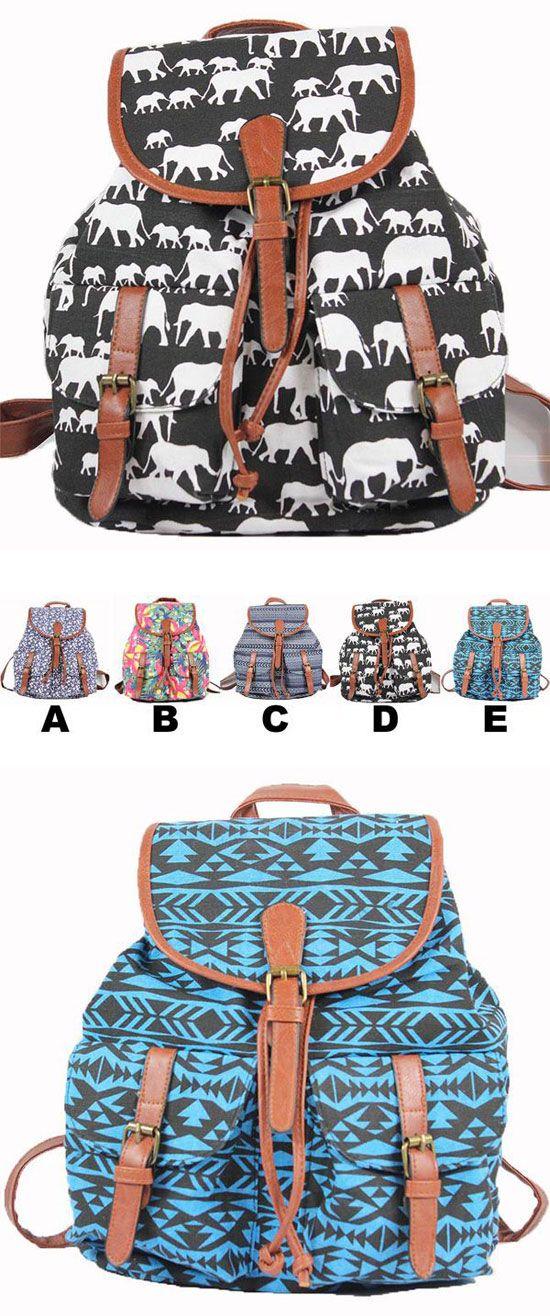 Elephant Floral Printing National PU Belt Two Pockets School Canvas Backpack for big sale! #school #backpack #canvas #elephant #bag #pu #cute