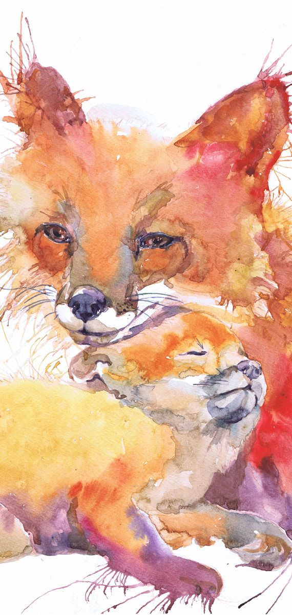Fox painting watercolor art, fox print, fox nursery decor, mother and baby, woodland nursery, forest animals, prints, nature, fox gifts Fox and Baby high quality fine art prints of my original watercolor painting. It is the work of a watercolor series Portraits of the Heart To order, select one of them in the variations Size paper: 21 cm x 29,7 cm, 8 1/4 x 11.5/8, A4.(with white borders) - 18.00 $ 29,7cm × 42cm, 11,69 × 16,54, A3(with white borders) - 36.00 $ Other dimensions ...