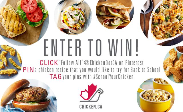 "#SchoolYourChicken Contest: Enter to win $150 Walmart Gift Card, slow cooker & merchandise by 1) Click ""Follow All"" @ChickenDotCA on Pinterest 2) Pin a chicken recipe you'd look to try for back to school 3) Tag your pins with #SchoolYourChicken. For more info & official rules & regs go to http://www.sjconsulting.ca/schoolyourchicken-pinterest-contest-150-walmart-gift-card/"