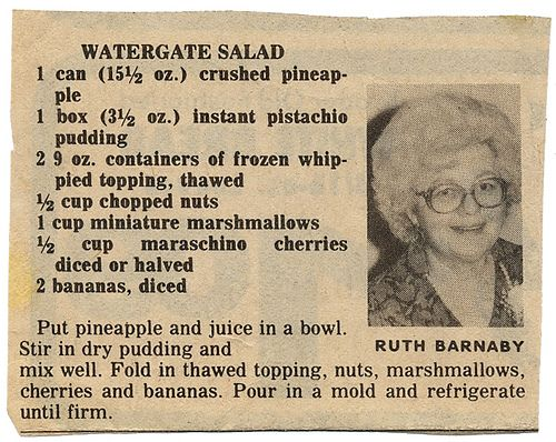 You might know this dish by other names: ambrosia, Pistachio Delight, green stuff--but I prefer Watergate Salad because, well, hello, all that Watergate shit went down in 1972! Watergate Salad is d...