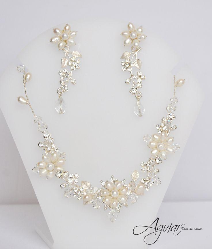 Juego Aretes y Collar para novia bride accesories jewerly pearls glam